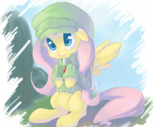 Fluttershy Drinking apel, apple jus