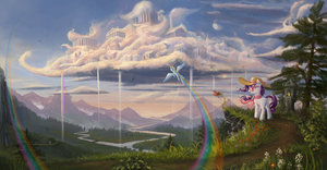 Rainbow Dash Flying in the Sky