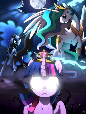 Celestia, Nightmare Moon, and Twilight