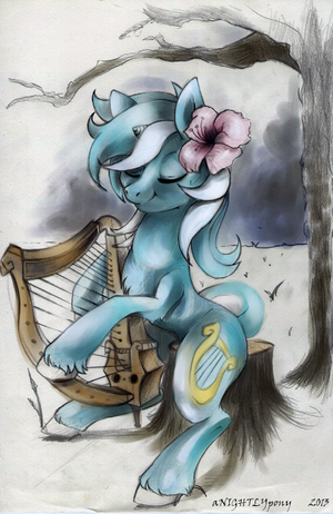 Lyra Playing her Instrument