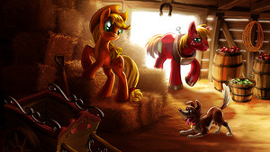 Applejack, Big Macintosh, and Winona fondo de pantalla