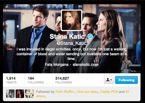 Nathan Fillion & Stana Katic fond d'écran titled Stana's new twitter header