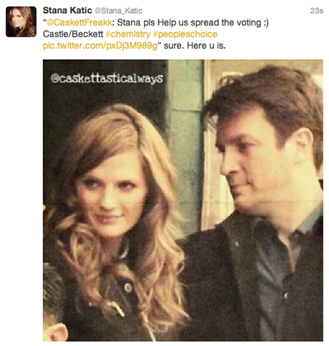 Nathan Fillion & Stana Katic wallpaper titled Stana's twitter-November,2013