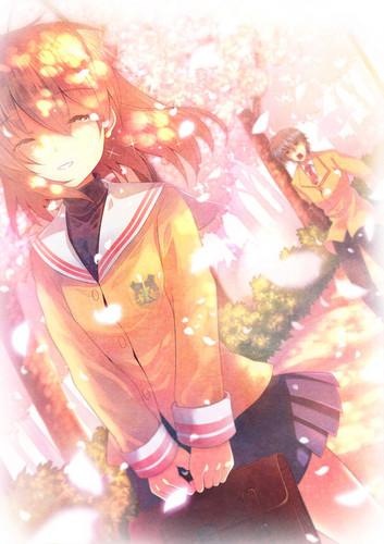 Okazaki Nagisa fondo de pantalla with a bouquet called Nagisa¸.•´¯`♡