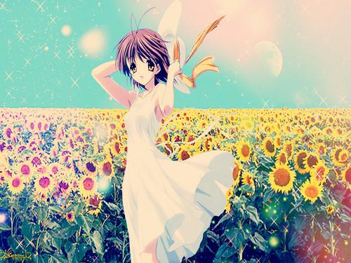 Okazaki Nagisa 壁紙 with a bouquet titled ~Nagisa♥(Love)