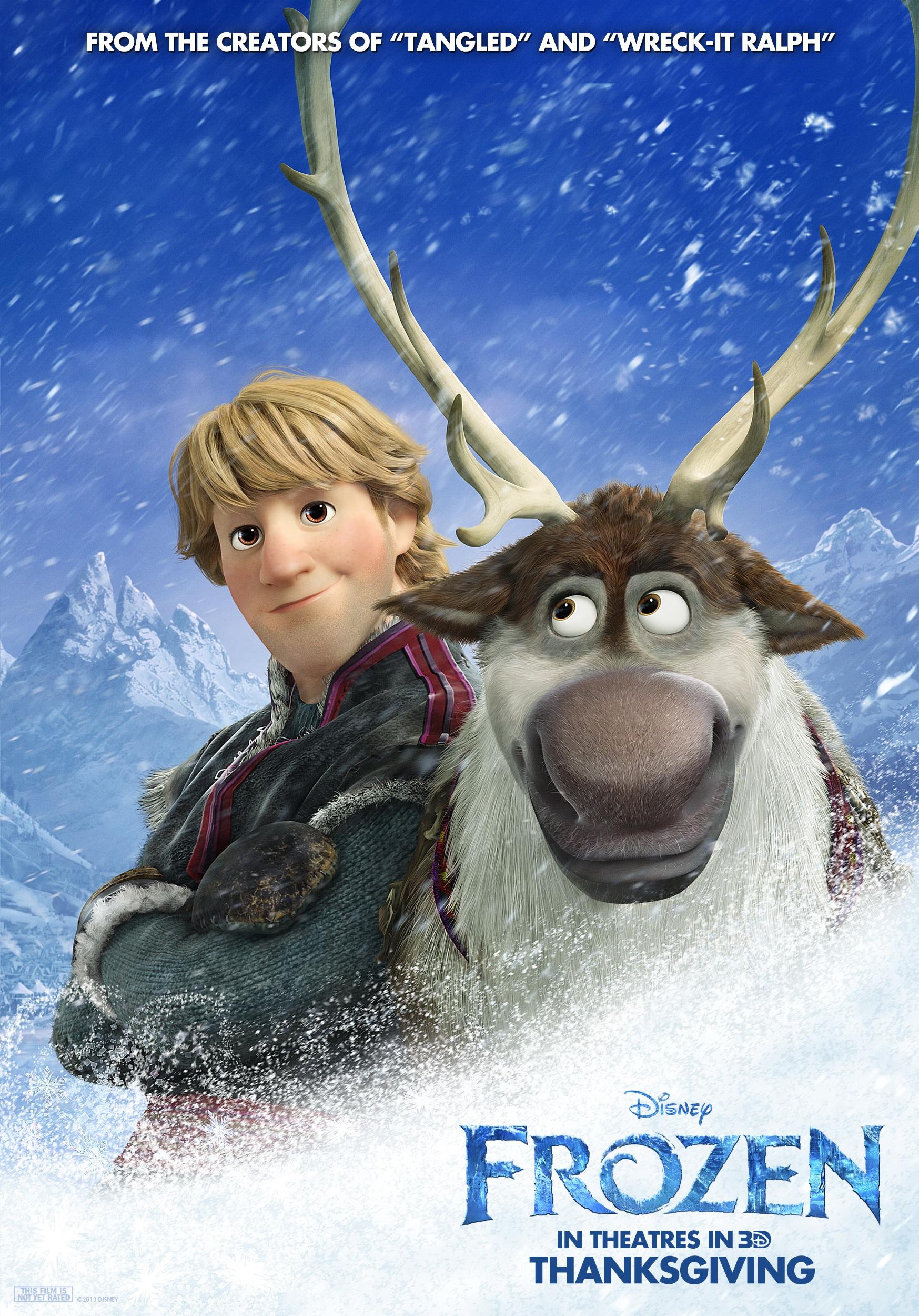 Frozen Walt Disney Movie Promo Poster Anna Elsa Sven Kristoff Entertainment Memorabilia Current Releases