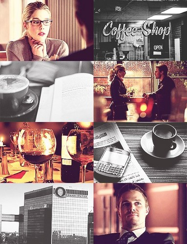 Oliver & Felicity Hintergrund probably containing a coffee break, a turntable, and a fedora titled Olicity AU (coffee shop)