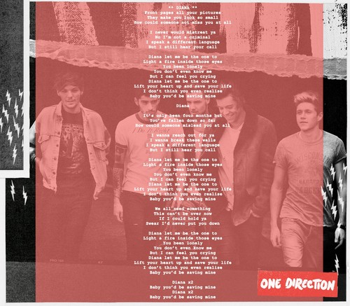 One Direction wallpaper with a sign titled Diana lyrics