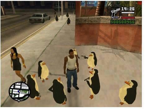 Os Pinguins de Madagascar wallpaper possibly with a faixa de rodagem, calçada and a rua titled So apparently theres a PoM mod for GTA: San Andreas..