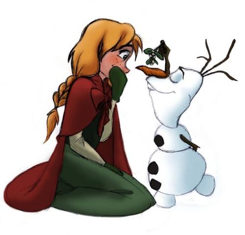 Princess Anna kertas dinding titled Anna and Olaf