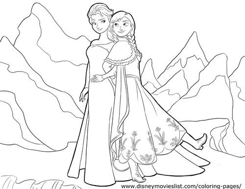 Princess Anna kertas dinding entitled Anna and Elsa Coloring Page