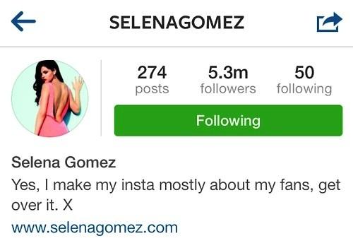 Selena's New Instagram Bio