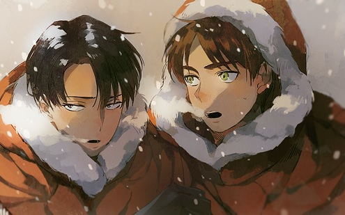 Shingeki no Kyojin (Attack on titan) karatasi la kupamba ukuta called Levi & Eren