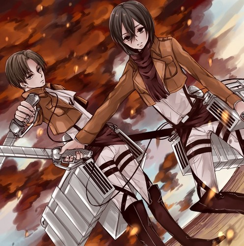 Shingeki no Kyojin (Attack on titan) wallpaper probably containing anime called RivaMika
