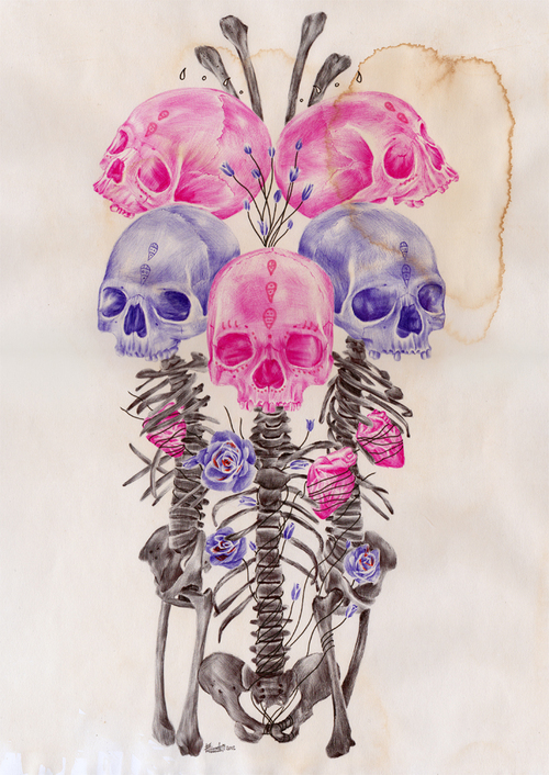 Flowers/Skulls - Skulls Fan Art (36136878) - Fanpop
