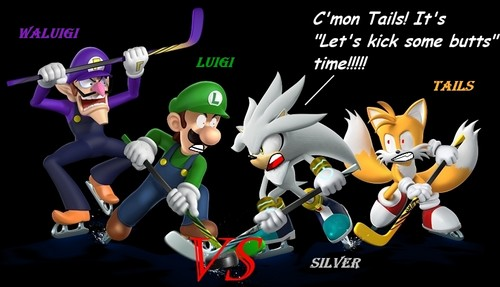 Sonic the Hedgehog wallpaper possibly containing Anime called Silver and Yails vs Luigi and Waluigi