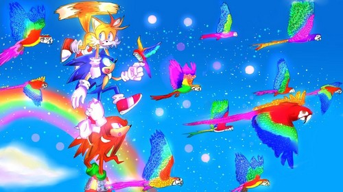 Sonic the Hedgehog wallpaper entitled .:Flying High Over The Sky:.