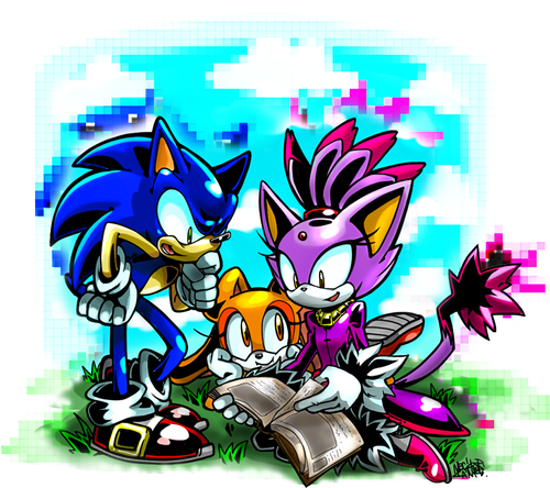 Nhím Sonic hình nền containing anime entitled Sonic, Blaze, and Cream