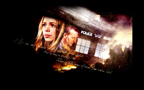The Doctor and Rose wallpaper probably with a sign, a fire, and a multiplex called The Doctor and Rose