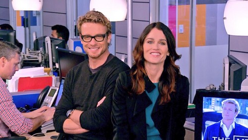 The Mentalist wallpaper with a laptop called Robin Tunney and Simon Baker at OMGInsider, 21st November 2013