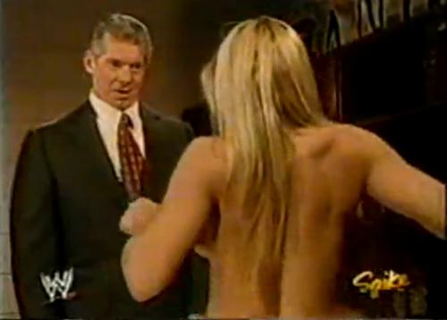 트리시 스트래터스 바탕화면 probably with a business suit, a well dressed person, and a portrait titled Trish Stratus - Nude, Backstage
