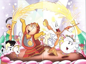 Walt ডিজনি Book প্রতিমূর্তি - Babette, Chip Potts, Cogsworth, Lumière & Mrs. Potts