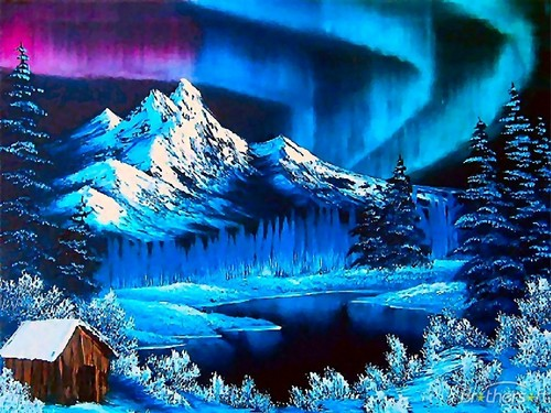 Winter wallpaper probably with a ski resort entitled Northern Lights During the Winter Wallpaper