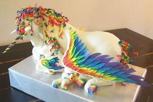 pelangi, rainbow Pegacorn Cake