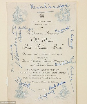 A signed programme from Old Mother Red Riding Boots in 1944