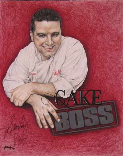 Cake Boss Hintergrund possibly with a sign called Cake Boss Colored Pencil Artwork