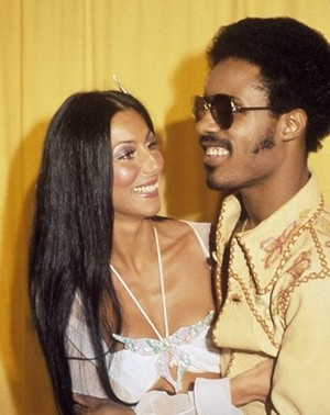 Cher Backstage With Stevie Wonder