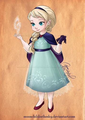어린 시절 애니메이션 영화 여자 주인공 바탕화면 titled Little Elsa