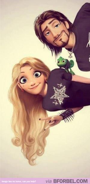 goth rapunzel and flynn