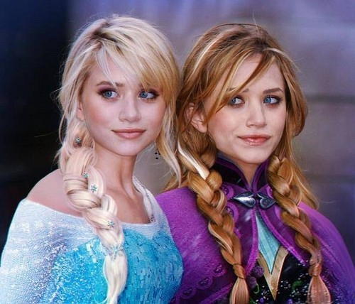 Disney Princess wolpeyper possibly containing a kaktel dress and a portrait called Mary-Kate and Ashley Olsen as Elsa and Anna (photoshop)