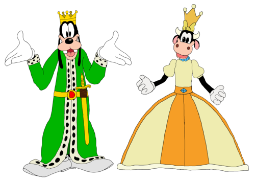 disney wallpaper probably containing anime called King Goofy and queen Clarabelle Cow - Mickey mouse Clubhouse
