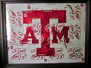Texas A&M Logo Art made with Dr Pepper cans