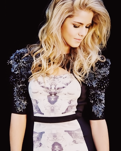 Emily Bett Rickards karatasi la kupamba ukuta probably containing a cocktail dress, a bustier, and a chajio, chakula cha jioni dress titled Emily Bett Rickards for Bello Mag