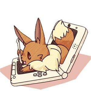 Eevee playing on a ds