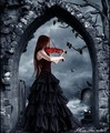 Gothic Woman Playing a Violin - gothic photo