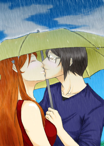 Ishida & Orihime fã Club wallpaper possibly with a parasol entitled IshiHime!!