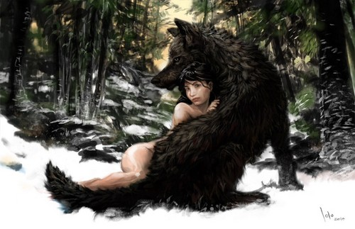 Jacob Black and Renesmee Cullen 壁纸 called Naked 狼