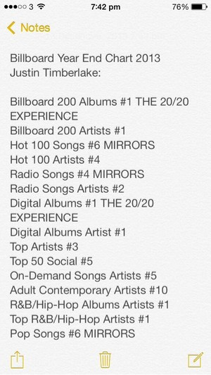 JT's album success in numbers on Billboard End-Year 2013