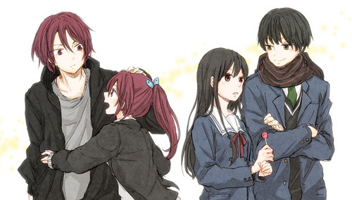 Kyoukai no Kanata achtergrond containing a well dressed person, an outerwear, and an overgarment titled Matsuoka and Nase Siblings