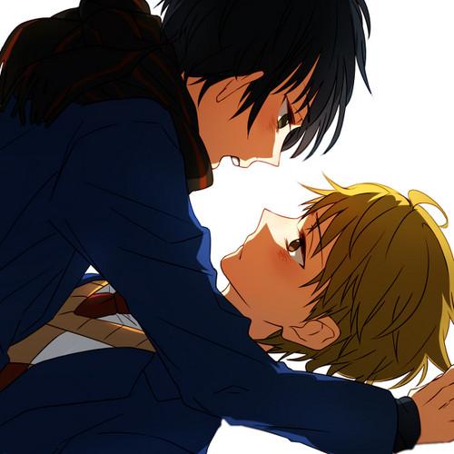 Kyoukai no Kanata achtergrond probably containing anime titled Hiroomi and Akihito
