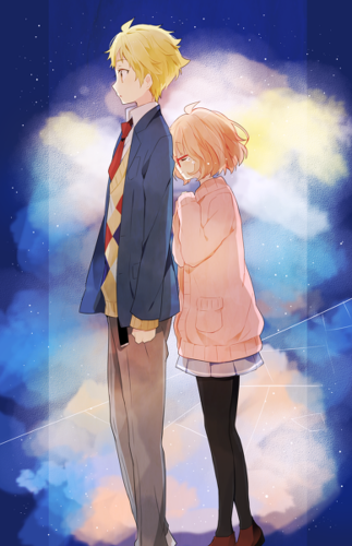 Kyoukai no Kanata wallpaper containing a well dressed person and a business suit entitled Akihito and Mirai