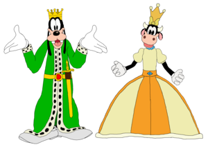 King Goofy and queen Clarabelle Cow