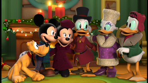 Pluto, Mickey, Minnie, Scrooge, Daisy, and Donald