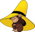Curious George under hat