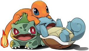 Charmander, Bulbasaur and Squirtle