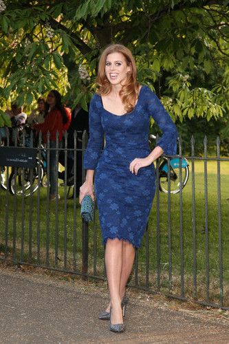 Queen Elizabeth II wallpaper possibly containing a playsuit, a hip boot, and tights called Princess Beatrice of York arrives at the Serpentine Gallery